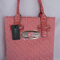 Nwt Guess Tansy Coral Colored Signature Shopper Tote Handbag Metal G Crystals Photo