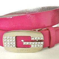 Nwt Guess Womens Belt Large Logo Crystal Rhinestones Pink Sz L  Photo
