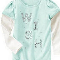 Nwt Gymboree 4 Snowflake Unicorn Gem Wish Double Sleeve Top Tee Aqua Photo