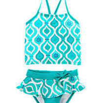 Nwt Gymboree 8 Swimshop Bow Mosaic Print Tankini Swimsuit Swimwear Set Bathing Photo