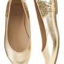 Nwt Gymboree Holiday Shine Gold Sparkly Flats Size 10 Photo
