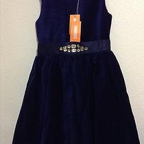 Nwt Gymboree Holiday Shine Velveteen Blue Holiday Dress 5 Photo