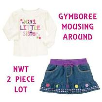 Nwt Gymboree Sz 5 Mousing Around  1 Sister Ivory Mouse Top Denim Skirt 2 Pc Lot Photo