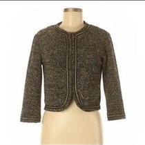 Nwt h&m Blazer Career Jacket Coat Shirt Chanel Look Tweed Gold Black Small Photo