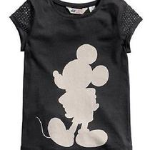 Nwt h&m Girls Jersey Top Mickey  10-12y Black Photo
