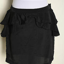 Nwt h&m Ruffle Trimmed Peplum Mini Skirt Black Sz 10 Photo