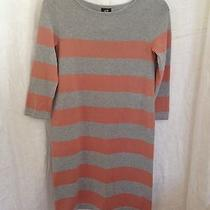 Nwt h&m Womens Gray Tan Striped Long Slv Sweater Dress Sz Xs Photo