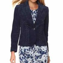 Nwt Hal Rubenstein Christy Washable Leather Suede Jacket Hsn New 199 Navy Sz 6 Photo