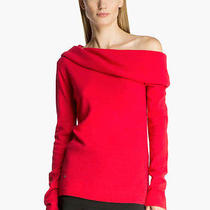 Nwt Halston Heritage Off Shoulder Cashmere Sweater Red Size M Photo