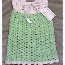 Nwt Handmade Crochet Knit 3pc Outfit Set Green White Dress Hat Mary Jane Booties Photo