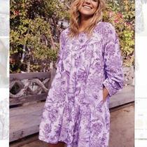 Nwt Happyxnature Luna Dress Purple Babydoll Floral Size Large Kate Hudson New Photo