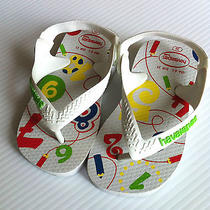 Nwt Havaianas Baby White Flip Flops Sandals Thongs Numbers Counting Us 6 Eu 22 Photo