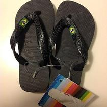 Nwt Havaianas Brasil Kids Flip Flop Sandals Us Size 9/10 Eur 27-28 Br25-26 Black Photo