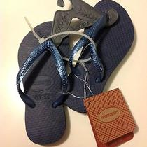 Nwt Havaianas Slim Kids Flip Flop Sandals Us Size 7/8 Eur25-26 Br23-24 Navy Blue Photo