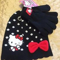 Nwt Hello Kitty Girls Kids Hat and Mittens 2 Pc Set Black 12-24 Mo Photo