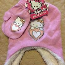 Nwt Hello Kitty Girls Kids Hat and Mittens 2 Pc Set Pink White 12-24 Mo Photo