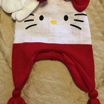 Nwt Hello Kitty Girls Kids Hat and Mittens 2 Pc Set White Red 12-24 Mo Photo