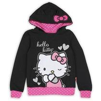Nwt Hello Kitty Little Girl's Black & Pink Glitter Pullover Hoodie - Sizes 4-6x Photo