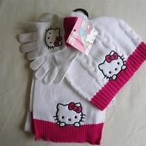 Nwt Hello Kitty Logo 3pcs Set Hat Cap Beanie/gloves/scraf Clothes Size Youth Photo