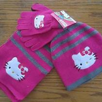Nwt Hello Kitty Logo 3pcs Set Hat Cap Beanie/gloves/scraf Clothes Size Youth Photo