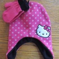 Nwt Hello Kitty Logo  Hat Cap Beanie With Gloves/mitten Clothes Size Infant Photo