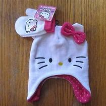 Nwt Hello Kitty Logo  Hat Cap Beanie With Gloves/mitten Clothes Size Youth Photo
