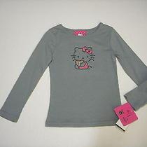 Nwt Hello Kitty Long Sleeve Gray Dot Kitty Shirt Sz 4 Photo