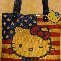 Nwt Hello Kitty Loungefly Americana Usa Flag Burlap Tote School Beach  Book Bag Photo