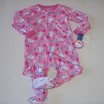 Nwt Hello Kitty Pink Stars Lighter Weight Footed Pajamas Sz 4t Photo