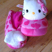 Nwt Hello Kitty Sock Top Slippers Sz 11-12 Xl Toddler - Little Girls Pink Hearts Photo