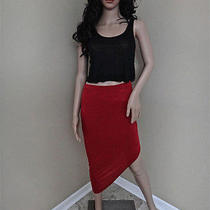 Nwt Helmut Lang Angel Asymmetrical Hem Kinetic Jersey Carmine Skirt Small 160 Photo