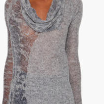 Nwt Helmut Lang Heather Grey Sheer Alpaca Burnout Sweater Top L Large Photo