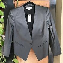 Nwt Helmut Lang Sz 4 Gray Linen Twill Tux Blazer Photo