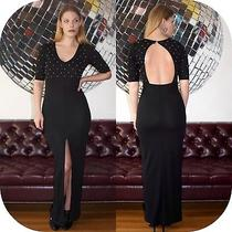 Nwt Hm h&m Black Formal Party Long Maxi Dress W/ Front Slit Short Sleeve 6 4 S Photo