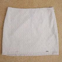 Nwt Hollister Women Lace Fitted Mini Skirt Size 1 Xs Cream & Gold Shine Photo