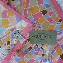 Nwt Huge Oscar De La Renta Pastel Confetti Shell Fan Pattern Silk Scarf Photo