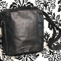 Nwt Hugo Boss Black Leather Messenger Bag Photo