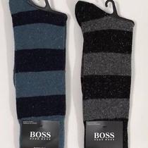Nwt Hugo Boss Mens Design 2 Pair Fine Wool/silk Striped Speckled Dress Socks Os Photo