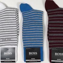 Nwt Hugo Boss Men's Set of 3 Pair Marc Striped Cotton Dress Socks Size 7-13 Photo