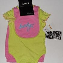 Nwt Hurley Outfit Baby Girl 9m 9 Months 3pc Set Pants Bodysuit Bib Pink Lime New Photo