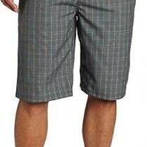 Nwt Hurley Surfer Beach Barcelona Walk Dress Shorts Gray Plaid Check Size 38 Photo