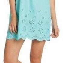Nwt in Bloom by Jonquil Aqua Cold-Shoulder Eyelet Chemise Tunic Dress Cover Up M Photo