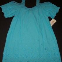 Nwt in Bloom by Jonquil Aqua Cold-Shoulder Eyelet Chemise Tunic Dress Cover Up S Photo