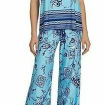 Nwt in Bloom by Jonquil Aqua/navy Paisley/border Slinky Knit Pajama/lounge Set S Photo