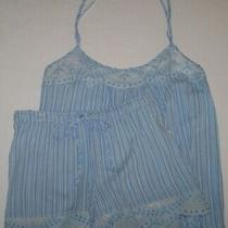 Nwt in Bloom by Jonquil Blue/white Stripe Pajama/lounge Shorts Set S Eyelet Lace Photo