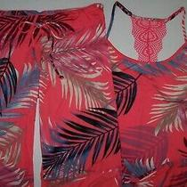Nwt in Bloom by Jonquil Coral/blue Palm Leaves Slinky Knit Pajama/lounge Set L Photo