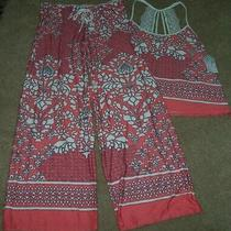Nwt in Bloom by Jonquil Coral Peach/white/navy Slinky Knit Pajama/lounge Set L Photo
