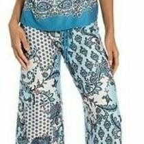 Nwt in Bloom by Jonquil Ivory/blue Floral/geo Slinky Knit Pajama/lounge Set L Photo