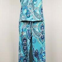 Nwt in Bloom by Jonquil Navy/aqua/ Paisley Slinky Knit Pajama/lounge Set 1x Photo