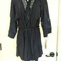 Nwtin Bloom by Jonquilnavy Blue Lace Eyelet Kimono Wrap Short Robem/lnew68 Photo